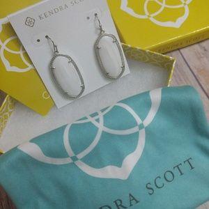 Kendra Scott silver and white pearl Elle earrings